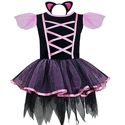 iEFiEL Déguisement Enfant Filles Robe + Serré-tête l'Oreill de chat Costume Carnaval 2-10 Ans Noir 7-8