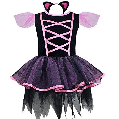 CHICTRY Süßes Mädchen Ballerina Katze Kätzchen Kinderkostüm komplettes Kostüm Kleider für Halloween Fasching Karneval mit Haarreif Ohren Schwarz + Violett - Katze Trikot Halloween-kostüme