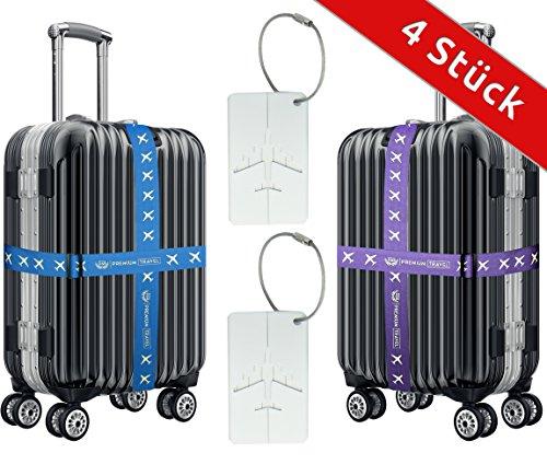 Koffergurt-Set von D&B für die ganze Familie [4 Stück] | Sorgenfrei reisen - Koffer sofort identifizieren im Urlaub & auf Ihrer Flug-Reise...
