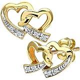 Naava Women's 9ct Diamond Double Heart Earrings