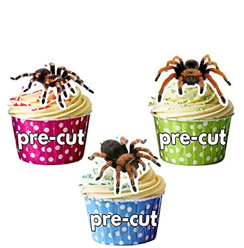 Vorgeschnittene Halloween Tarantula Spinnen - Essbare Cupcake Topper / Kuchendekorationen (12 Stück)