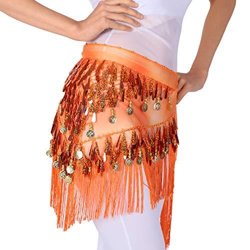 Bauchtanz Hüfttuch Triangle Rock Gürtel Taille Kette mit Pailletten und goldenen Münzen, Rave Music Festival Kostüm Tanzen Outfits für Frauen (Orange) (Bauch-tanzen-röcke-silber-münzen)