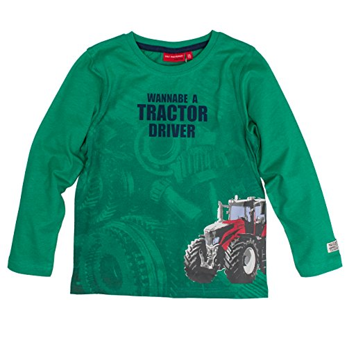 SALT AND PEPPER Jungen Langarmshirt Longsleeve Farm Work Print, Grün (Green Melange 678), 92 (Sleeve Work Shirt Long Baumwolle)
