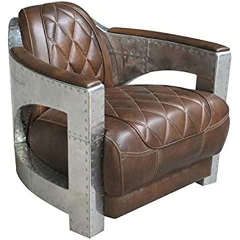 Casa Padrino leather Art Deco aluminum armchair Brown - club chairs - lounge chair - (Leather Club Chair)