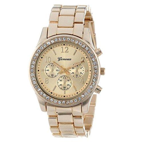 Valentinstag Uhren Dellin Faux-Chronograph-Quarz überzog Klassische Runde Dame-Frauen-Kristall-Uhr (golden)