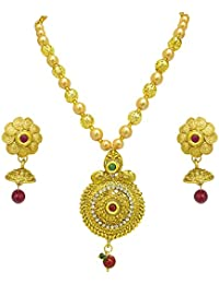 Surat Diamonds Traditional Round Shaped Colored Stone, Shell Pearl And Gold Plated Pendant Necklace & Earring...