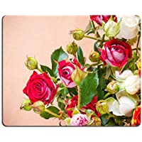 Liili mouse pad Natural rubber Mousepad Image ID: 16018856 grande bouquet di rose multicolori su uno sfondo marrone