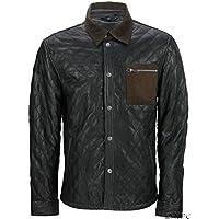 Casual in pelle shirt Jean giacca trapuntata nera Nappa uomo