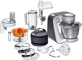 Bosch Styline MUM56340 Küchenmaschine (900 W, edelstahl-Rührschüssel, Durchlaufschnitzler, Rühr-Schlagbesen und weiteres Zubehör) silber