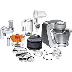 Bosch MUM56340 Küchenmaschine Styline / 900 Watt/Edelstahl-Rührschüssel/Durchlaufschnitzler / Mixeraufsatz Kunststoff/Knethaken Metall/Zitruspresse / Rühr-/Schlagbesen