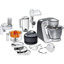 Bosch MUM56340 Küchenmaschine Styline/900 Watt/Edelstahl-Rührschüssel/Durchlaufschnitzler/Mixeraufsatz Kunststoff/Knethaken Metall/Zitruspresse/Rühr-/Schlagbesen