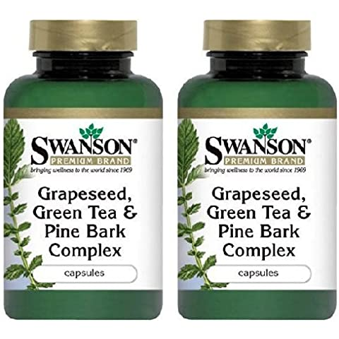 Swanson - Premium Grapeseed, Green Tea & Pine Bark Complex (60 Capsules) 2 Bottles by Swanson