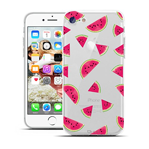 HULI Design Case Hülle für Apple iPhone 8 Handy im Watermelon Design - Handyhülle aus TPU Silikon - Schutzhülle klar mit Obst Wassermelone - Transparent und Slim für Dein Smartphone