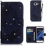 BoxTii® Coque Galaxy S7 Edge, Housse Etui en Cuir pour Samsung Galaxy S7 Edge [avec Gratuit Protection D'écran en Verre Trempé], Galaxy S7 Edge Case Coque Bumper Cover (#7 Bleu)