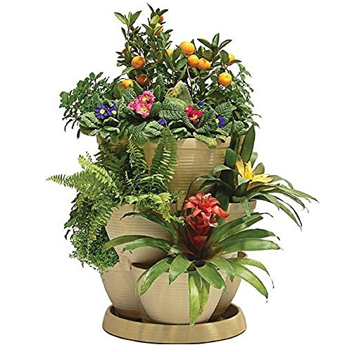 stackable-curved-planter-plastic-garden-plant-pot-container-in-stone-4-tiers
