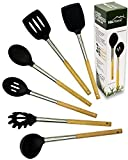 Misc Home Gourmet Bamboo Stainless Steel Non-Stick Silicone Utensil Set (6-Pieces)