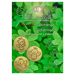 Paul & Lilli Schutzengel Auto Glücksbringer, Farbe Gold, 2,3cm, 3 Stück Engel Dreierlei Magnet Plaketten Zettelhalter