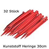 ToCi 32 x Kunststoff Heringe 30cm | Zeltheringe für Outdoor Camping Zelte Garten | Zeltnägel in Rot