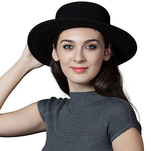 Damen Kirche Hut (SIGGI schwarz 100% Wolle Filzhut Kirche Hüte für Damen Fedorahüte bereit Krempe Hut verschiedene Farben)