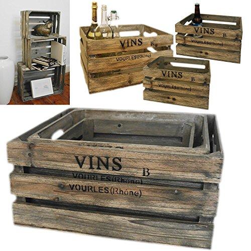 LS 3 Weinkisten Holzkisten Holzkiste Regal Obstkiste Blumenkübel Dekoration Box alt