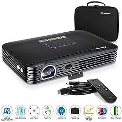 Tenswall Pico Projecteur 600ANSI Lumens 3D Vidéoprojecteur Portable Retroprojecteur Soutien FHD/4K/Max300 Multimédia Home Cinéma Video Projecteur 7800mAh Batterie+Android6.0+2GRAM+Pavé Tactile