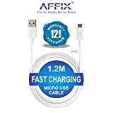 #8: Affix 1.2 Meter Micro USB Cable - Fast Charge, Data Transfer, Durable, high Speed Data Cable (White)