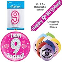9th Birthday Party Set Age 9 Girls (Banner Balloons, Candle, Badge)