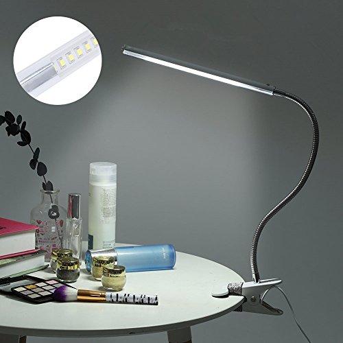 Klemme, USB-Schnittstelle; 4,5 W, flexibler Hals, LED-Make-up-Tisch, Leselampe fürs Bett, dimmbar, Metallschlauch, Lampe mit Clip ()
