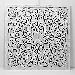 Mandala de Pared, Fabricada artesanalmente en España- tamaño 80x80 cm, Modelo GR94. Forma Cuadrada (Blanco Plata)