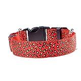 Rope Dog Lead Dog zu Fuß Leine LED-Licht Halsband Hund Sicherheit Kragen Leopard Muster Welpen Hundehalsband (rot-klein)