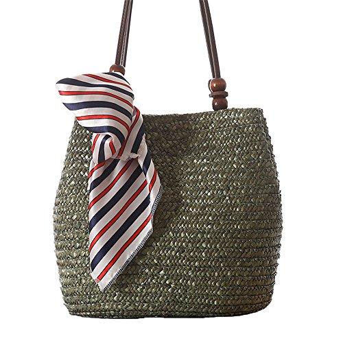 donne ragazze stile pastorale spiaggia sacchetto di spalla tote bag Borsa a tracolla Borse a mano(Senza la sciarpa), verde verde
