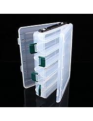 Yosoo doble cara 12compartimentos señuelos de pesca cuchara ganchos cebos gancho Tackle de cuentas de plástico caja de almacenamiento