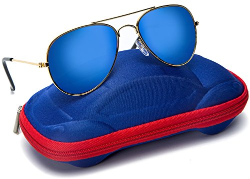 Seamaid Kids Aviator Sunglasses - Metal Frame Reflective Lenses Eyeglass for Boys Girls - Unisex Children Classic UV400 Protective sunglass for Junior Aged 4-9 with Car Shape Case