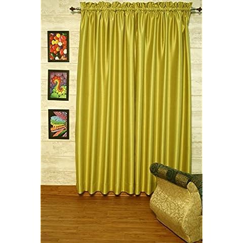 Oliva cortinas satén de seda Dupioni sintética, elección de piezas, anchura y longitud elección con forros opacos por zappycart., 104