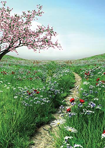 1M Frühlings Grünes Gras Fotografie Hintergrund Blumen Baum Baby Foto Hintergrund Ostern Fotografie Hintergrund für Foto Studio 11-424 ()