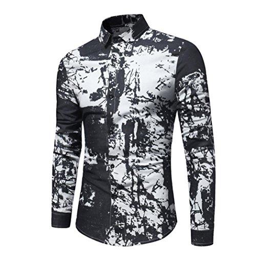 Camicia da uomo , feixiang® t-shirt shirts camicia camicie polo camicetta cappotto giacca maglione felpe hoodie pullover moda personalità uomini casual slim maniche lunghe (nero, m)
