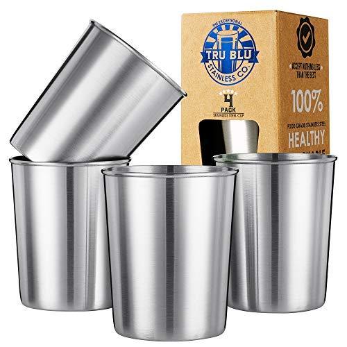 Edelstahl Tassen 220 ml (4er Pack) Ideal für Kinder – Metall Trinkgläser Trinkbecher– Premium Stapelbar & Unzerbrechlich