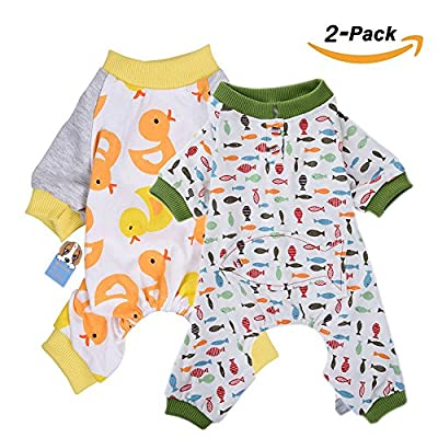 HongYH 2-pack Dog Clothes Dogs Cats Onesie Soft Dog Pyjamas Cotton Puppy Rompers Pet Jumpsuits Cozy Bodysuits for Small Dogs and Cats from HL