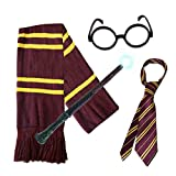 SCHOOL BOY WIZARD 4 PIECE SET. Long Scarf + Tie + Miraculous Magic Wand + Glasses by Paper Umbrella Facny Dr