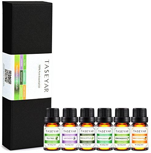 Aceites Esenciales Set, taseyar 100% Pure aceites de aromaterapia Kit (lavanda, árbol de té, eucalipto, hierbabuena, limón, naranja dulce) para dormir, masaje, difusores etc.-10ml 6unidades Set de regalo