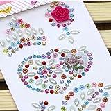 Morkia selbstklebend Craft Jewels, Blatt 8selbstklebende Strass Aufkleber Aufklebbarer Kristall Gem Blatt für DIY Handwerk Dekoration, verschiedene Farben, quadratisch, rund und Herzform