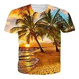 Adicreat Juniors Jungen Mädchen Hawaii Stil T-Shirt Sommer Print Coco Sunset Beach Graphic Kurzarm