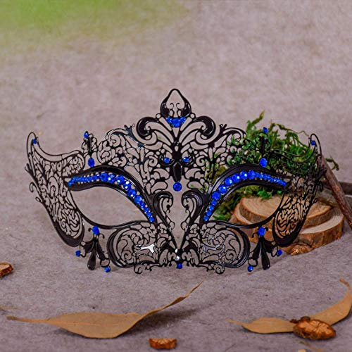 JIUCHE Metal Diamond Mask Halloween Maskerade Princess Halbe Gesichtsmaske Männer und Frauen Iron Mask Blue Diamond