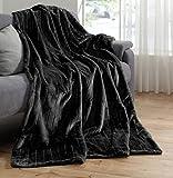 Hochwertige Pelzimitat Decke Taupe Sand Decke Wohndecke Plaid 150x200 Nerzoptik Kuscheldecke Felloptik Tagesdecke … (Schwarz)