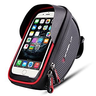 Wallfire Fahrrad Halterung Tasche, Fahrrad Fahrrad Lenker Taschen, wasserdicht, mit Schutzhülle für iPhone X 876s 6Plus 5S Samsung Galaxy S7S6Note 3Handy unter 6Zoll mit Regen-Abdeckung