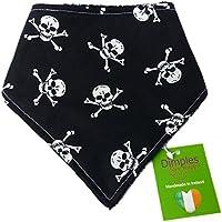 Dimples Hundehalstuch - Piraten Jolly Roger schwarz (Handgemacht für alle Größen und Rassen) 35cm