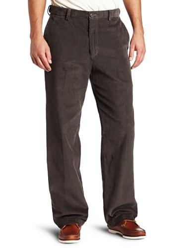 Haggar-cord-hose (Haggar Herren Arbeitshose mit versteckter dehnbarer Taille aus Cord, einfarbig, vorne - grau - 42W / 29L)
