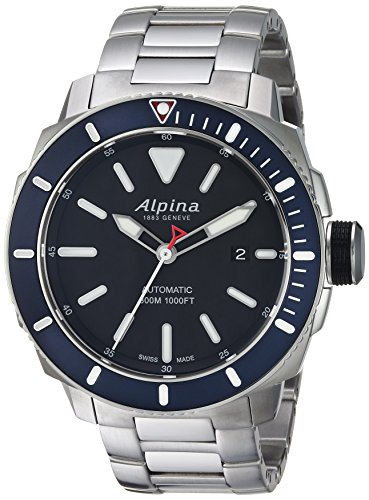 Alpina Men's 'Seastrong' Swiss Automatic Stainless Steel Diving Watch, Color:Silver-Toned (Model: AL-525LBN4V6B)