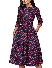Frühling Herbst Damen A-Linie Kleider Freizeit Rundhals 3 4-Arm Kleid  Tunikakleid Mode Druck Plissee Midi Kleider… 963c3b3e17