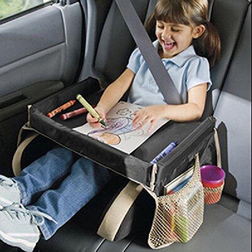 EJY Plateau de voyage pour enfant - Pour manger et jouer dans un siège de voiture, une poussette ou un siège d'avion, Tablette de voyage noir